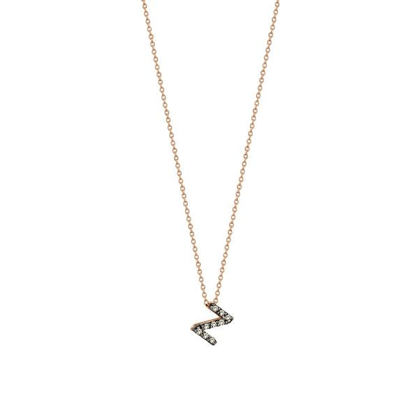 Letters Cubic Small Size Necklace - Champagne Diamond