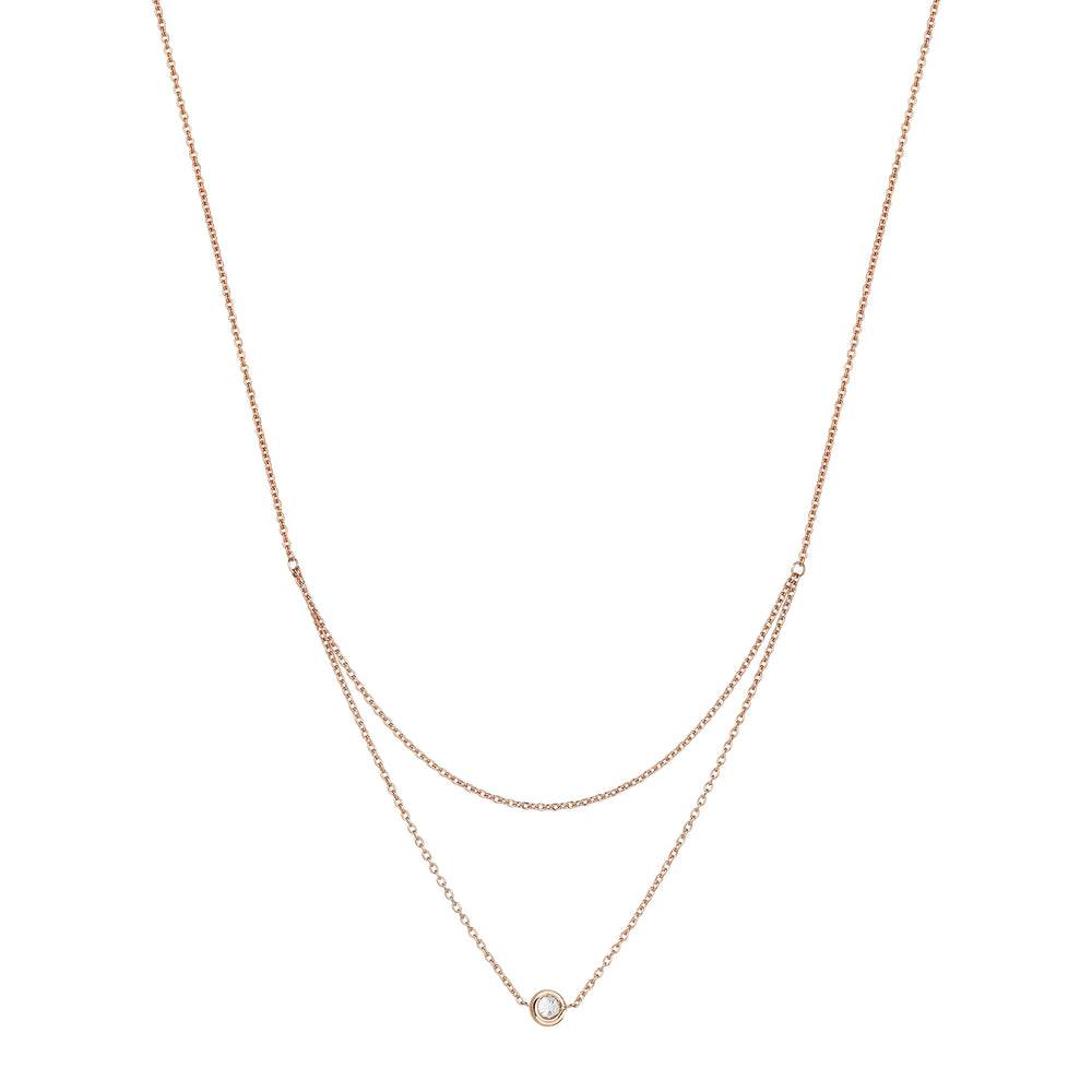 Beads Single solitaires 2 chain necklace - White Diamond