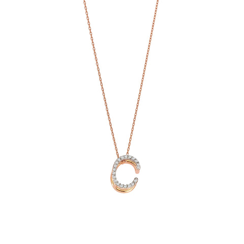 C Cubic Big Size Necklace - White Diamond