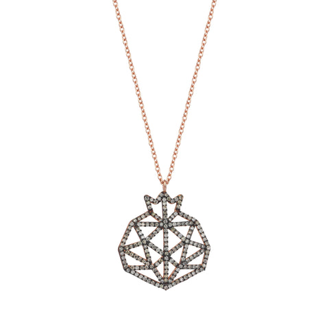 Pomegranate Cutout Full Champagne Diamond Rose Gold Necklace