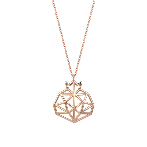 Pomegranate Cutout Rose Gold Necklace