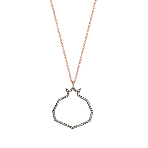 Pomegranate Champagne Diamond Cutout Open Rose Gold Necklace