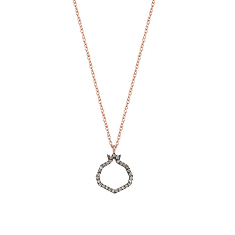 Pomegranate Champagne Diamond Cutout Open Rose Gold Small Necklace