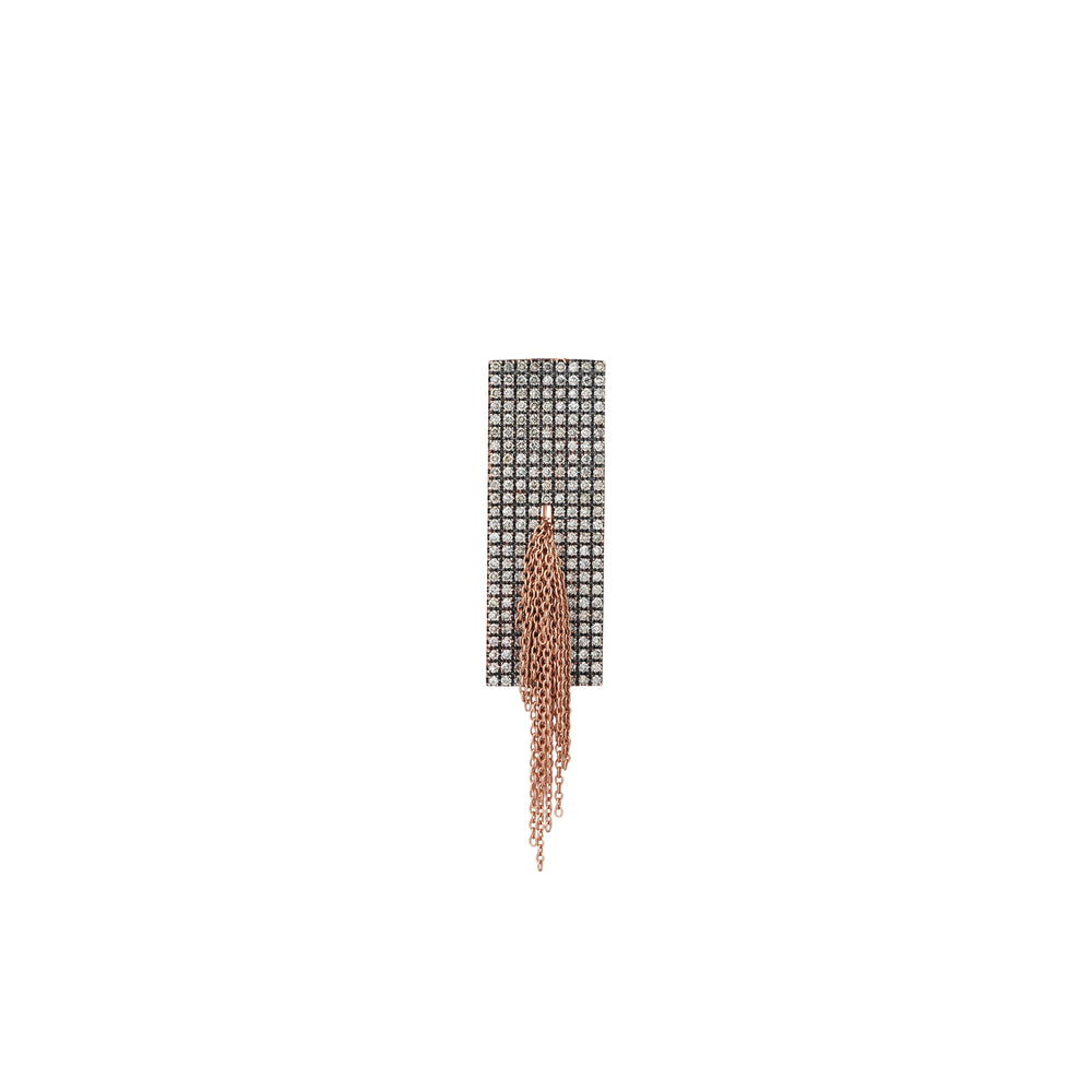 Vertical Rectangle Pave Tassels Earring (Single)