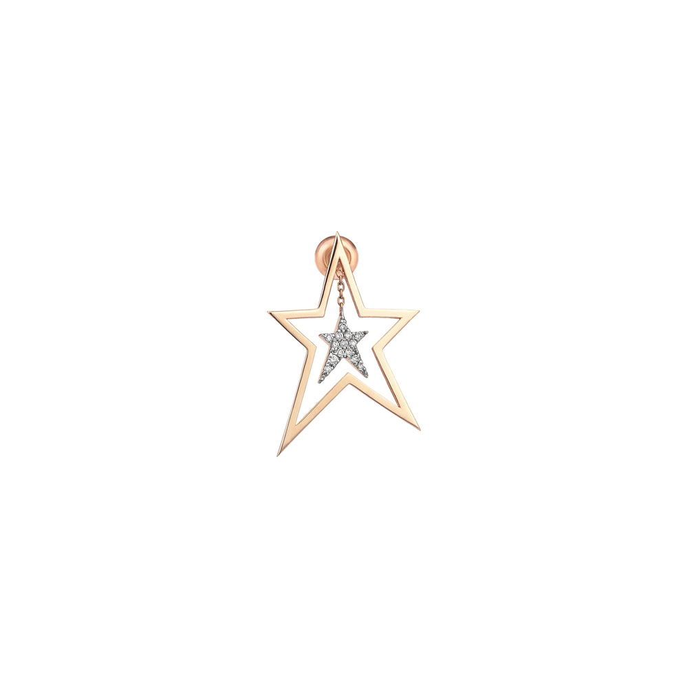Struck Doodle Star With Inner Star Earring (Single)