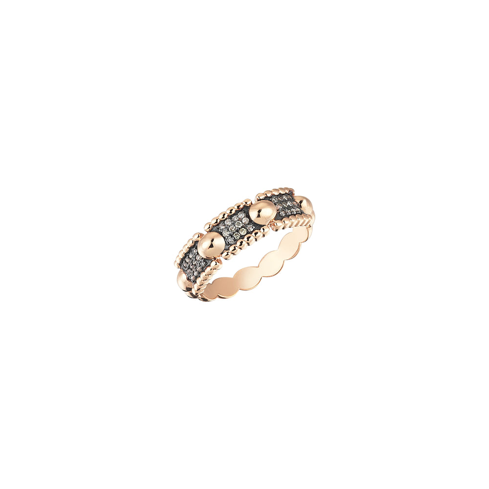 Beaded Ball 3 Rows Ring - Champagne Diamond