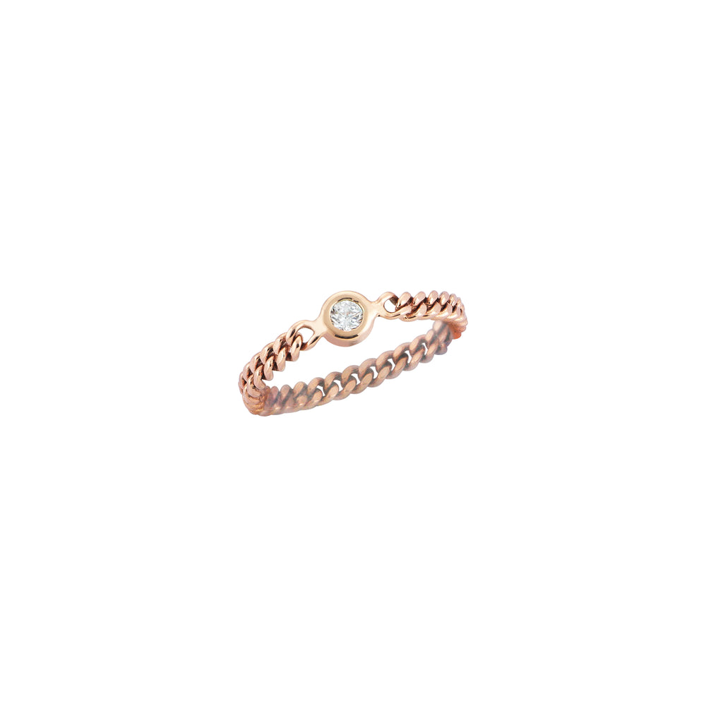 Retro Thin Ring - White Diamond
