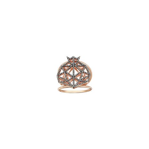 Pomegranate Cutout Full Champagne Diamond Double Rows Rose Gold Ring