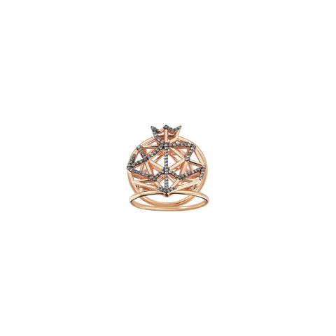 Pomegranate Cutout Champagne Diamond Double Rows Rose Gold Ring