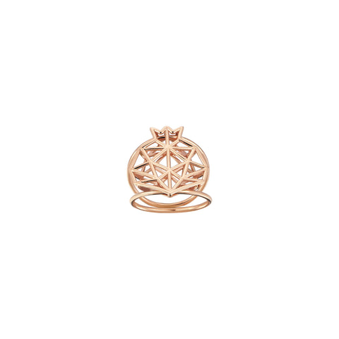 Pomegranate Cutout Double Rows Rose Gold Ring