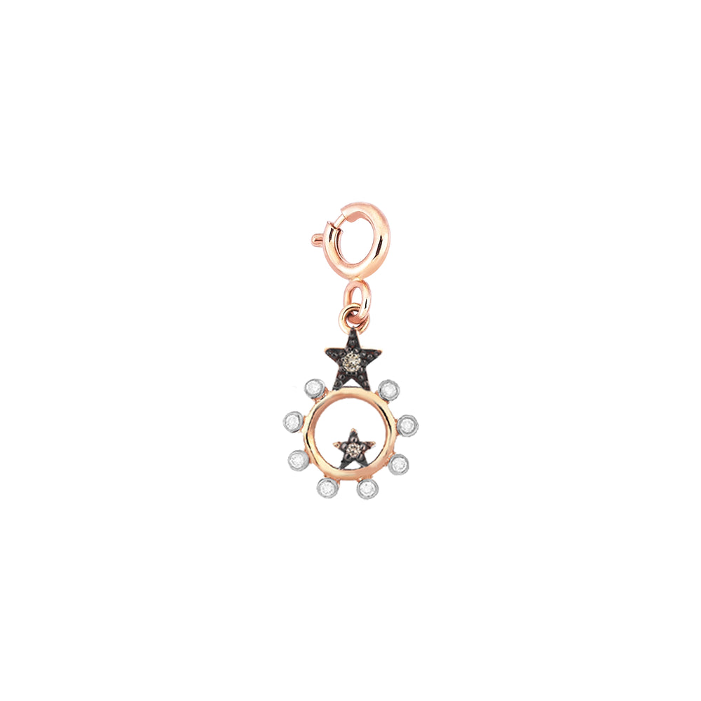 Eclectic Empty Circle Charm - Champagne Diamond