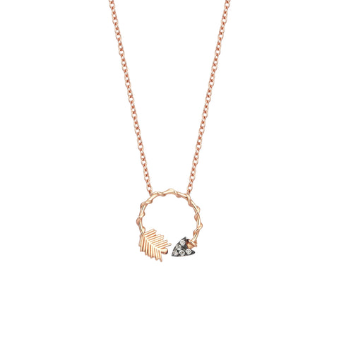 Circular Arrow Necklace - 0.05ct Champagne Diamond