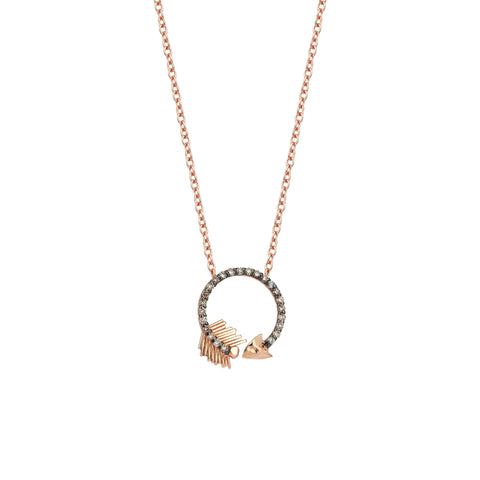Circular Arrow Necklace - 18ct Champagne Diamond