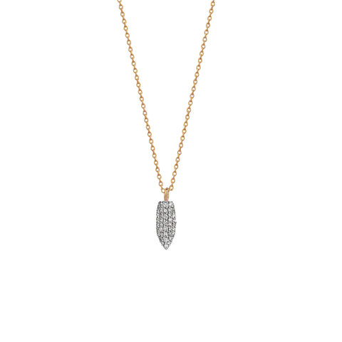 Mini Pave Arrowhead Necklace White Diamond