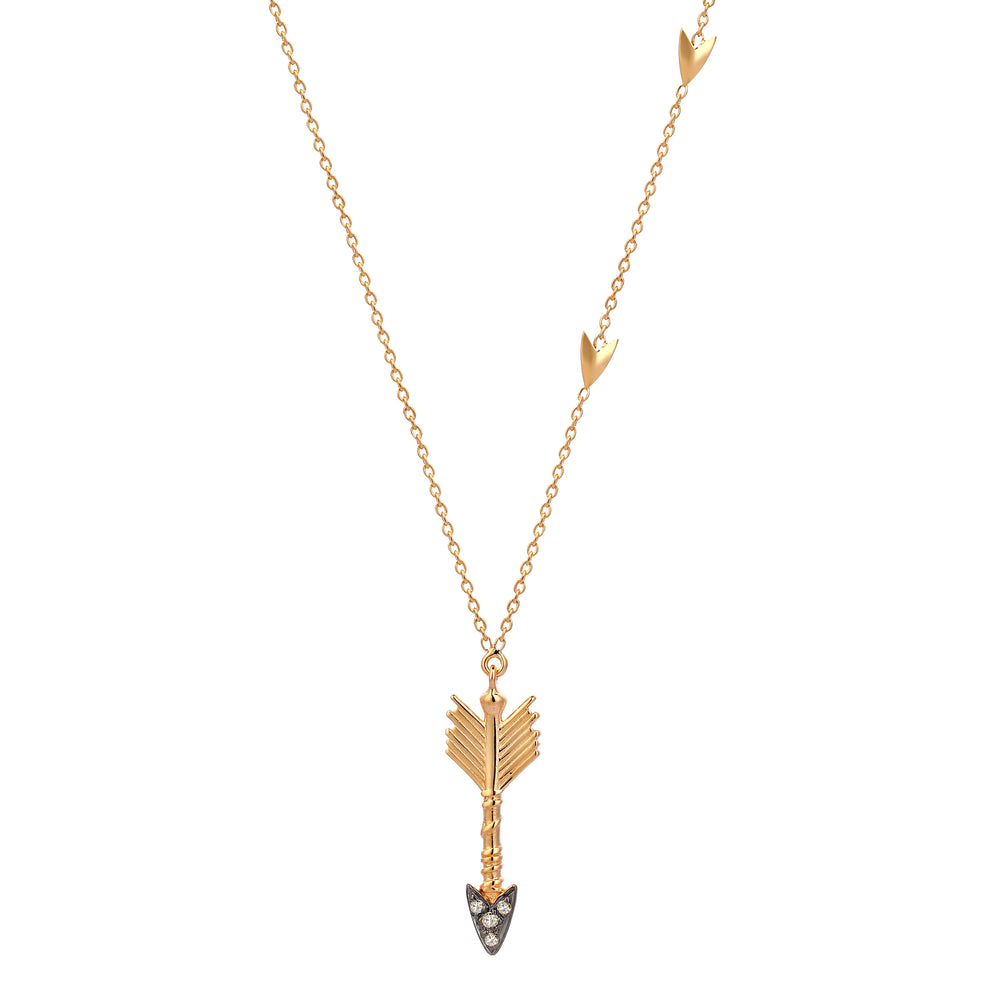 Triplet Arrow Necklace - Champagne Diamond