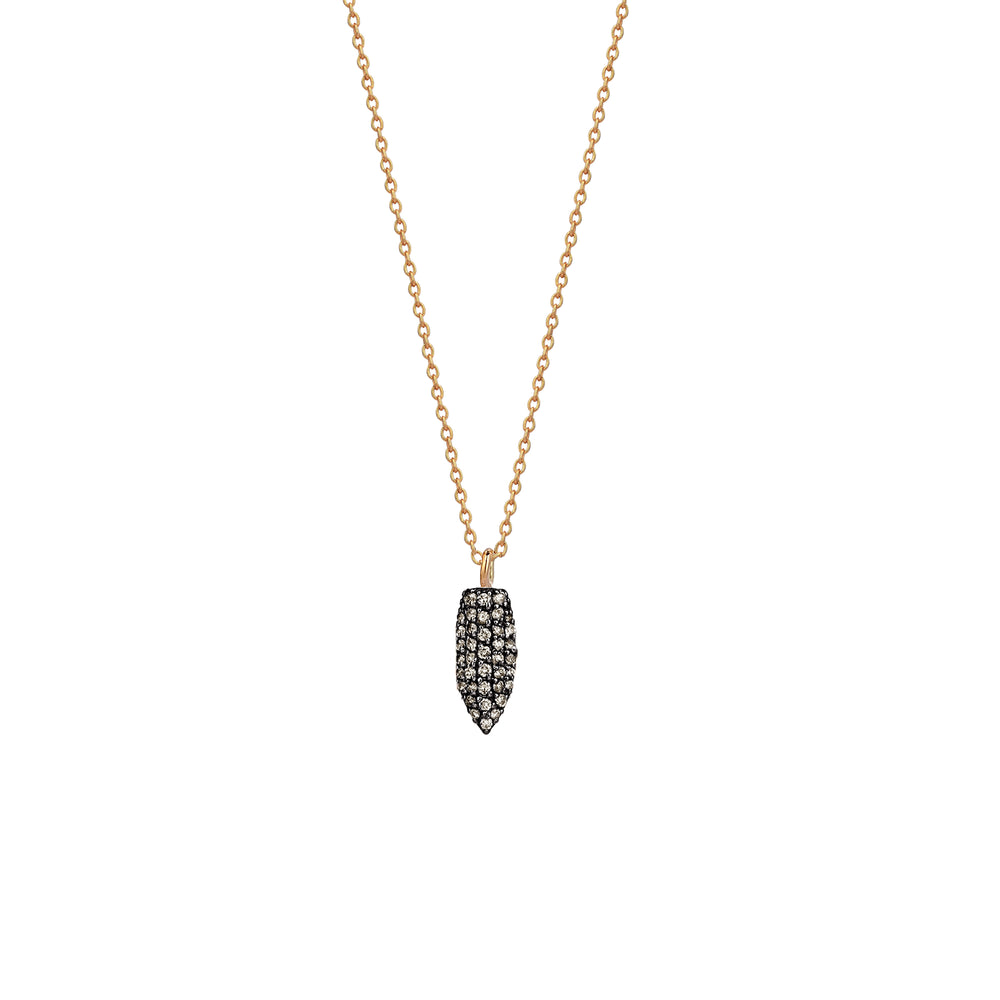 Mini Pave Arrowhead Necklace - Champagne Diamond