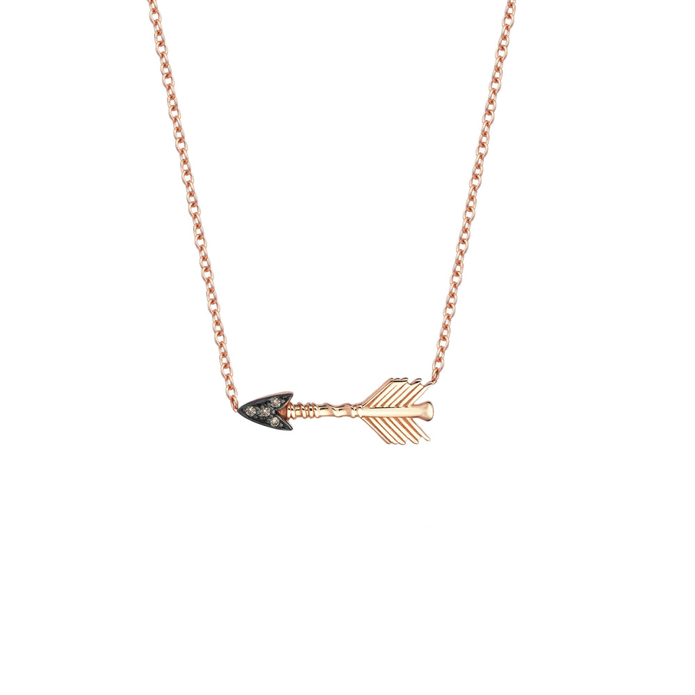 Horizontal Arrow Necklace - Champagne Diamond