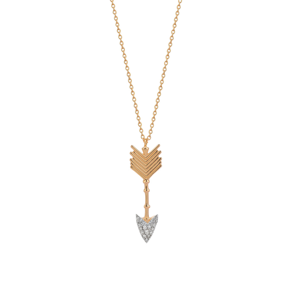 Large Arrow Necklace - White Diamond