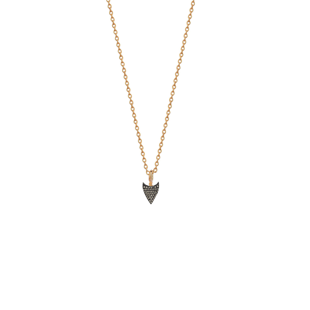Mini Pave Arrowtip Necklace - Champagne Diamond