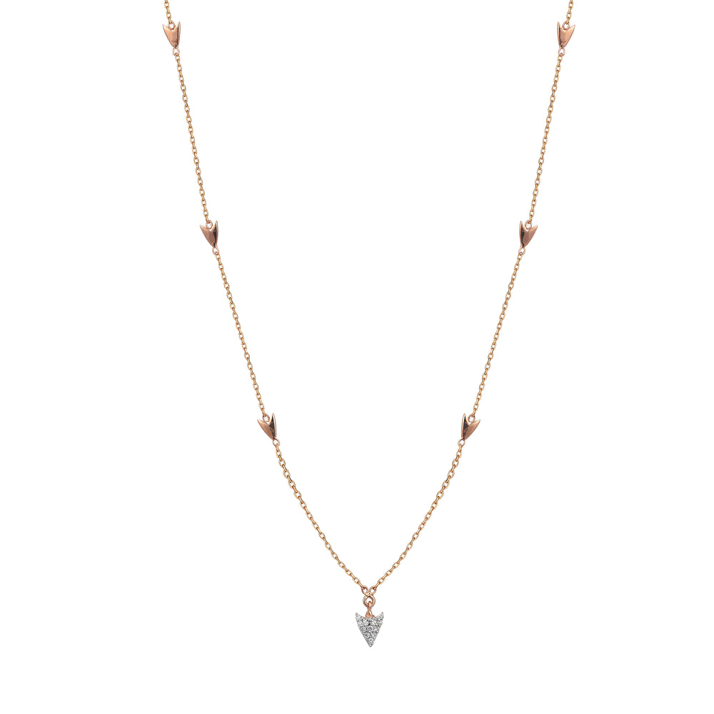 Mini Arrow Chain Necklace - White Diamond