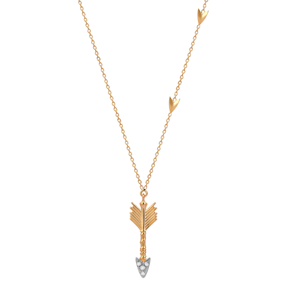 Triplet Arrow Necklace - White Diamond