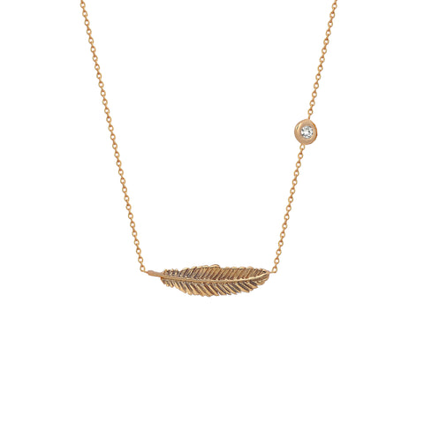Mini Solitaire Horizontal Feather Necklace