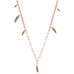 6 Feather Asymmetrical Chain Necklace - Gold
