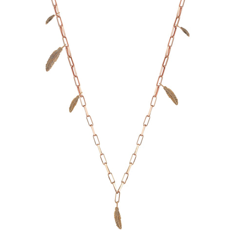 6 Feather Asymmetrical Chain Necklace