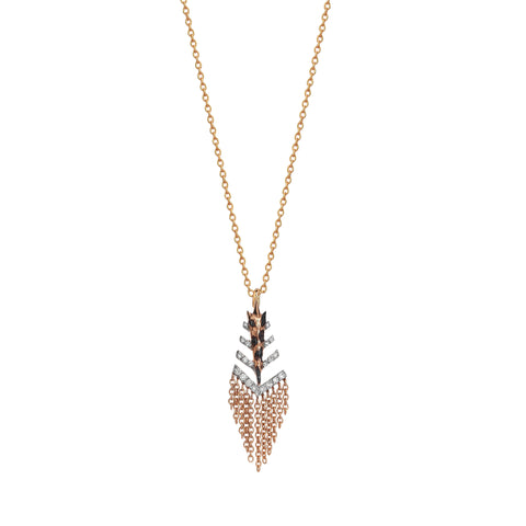 Dashed Arrowhead Fringe Necklace