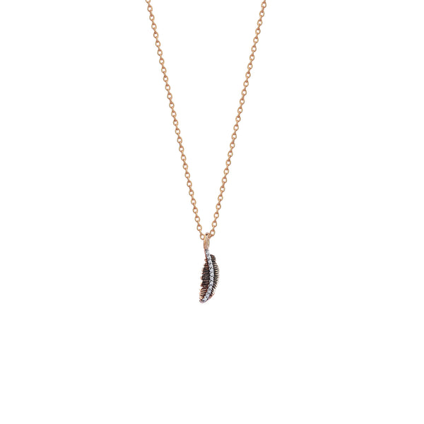 Mini Feather Diamond-Line Necklace