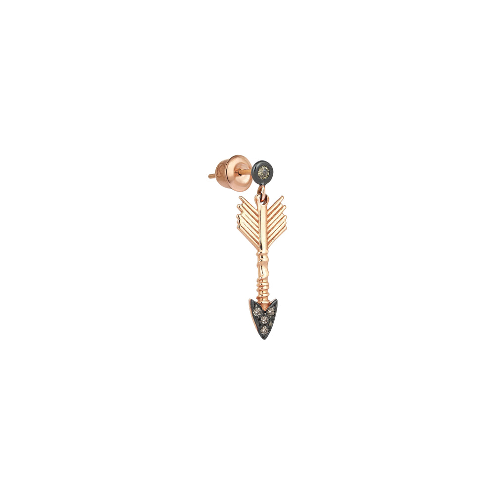 Solitaire Arrow Eardrop (Single) - Champagne Diamond