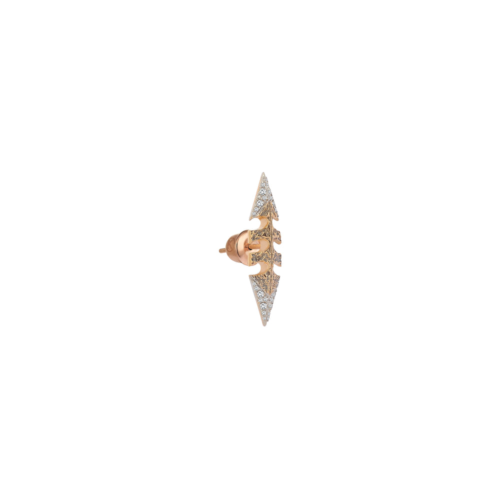 Double Sided Arrow Earring (Single) - White Diamond