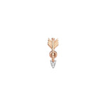 Midi Arrow Stud (Single) - White Diamond