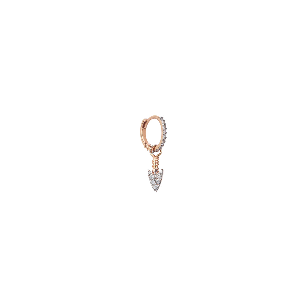 Mini Arrowhead Hoop (Single) - White Diamond