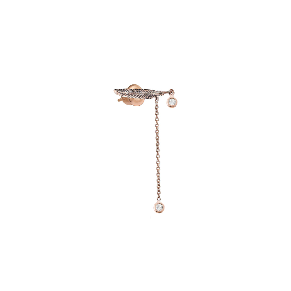 2 Solitaire Feather Chain Earring (Single) - White Diamond
