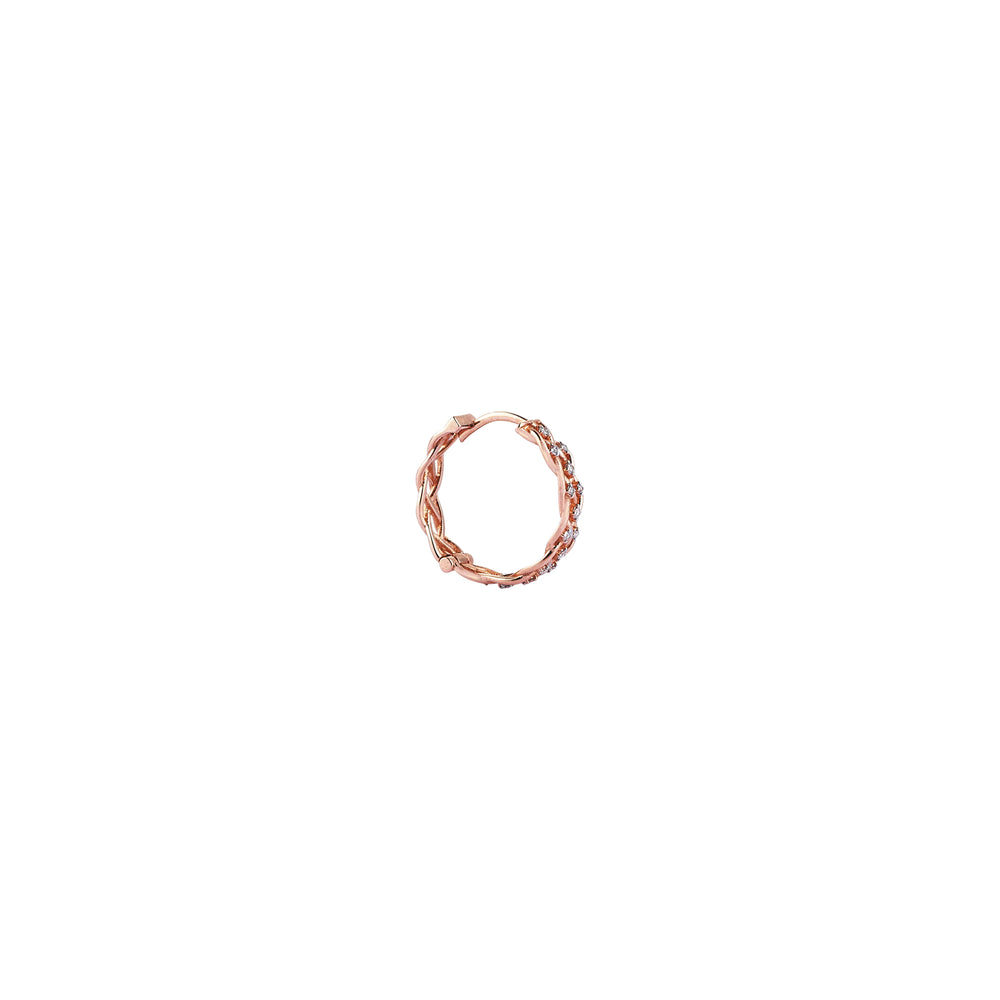 Wire Knit Diamond Hoop (Single) - White Diamond