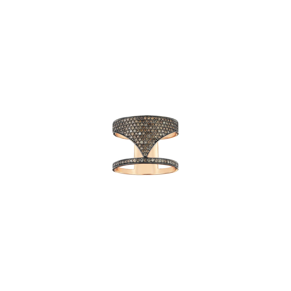 Pave Spear Ring - Champagne Diamond
