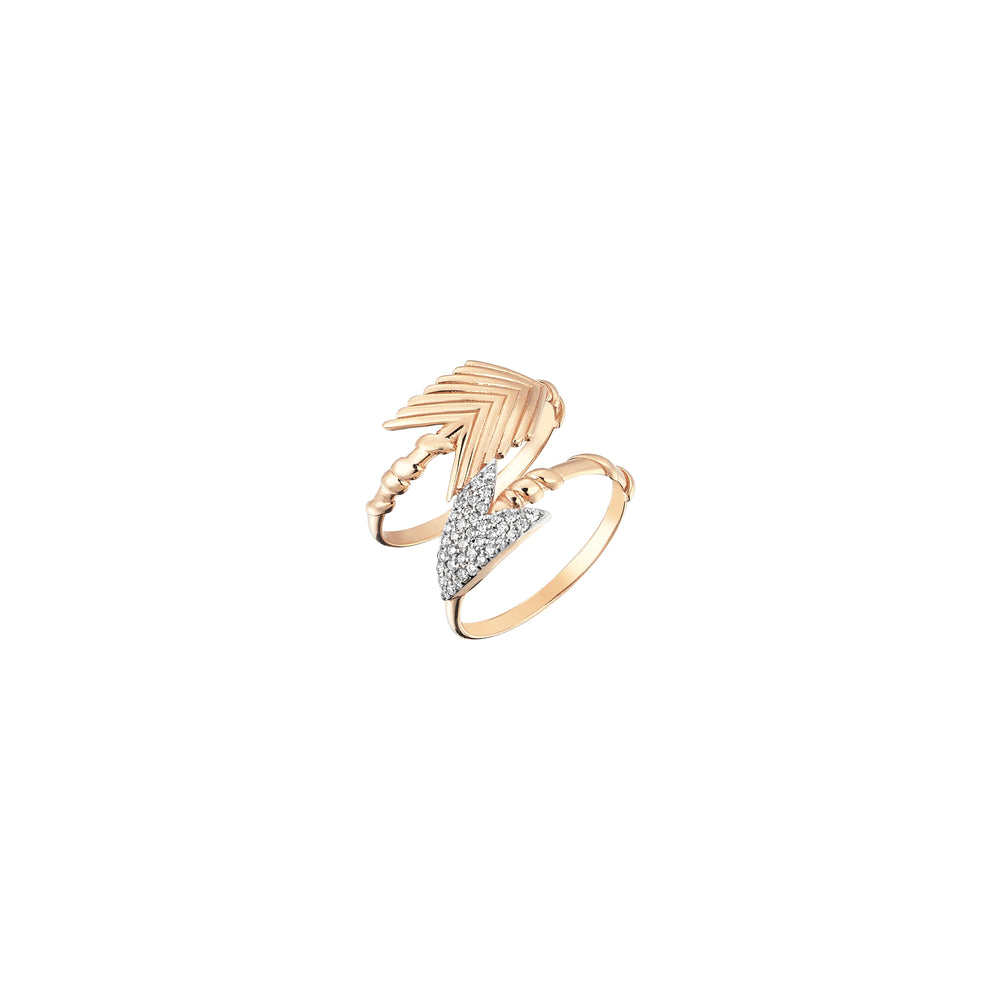 2 Rows Arrow Feather Ring - White Diamond