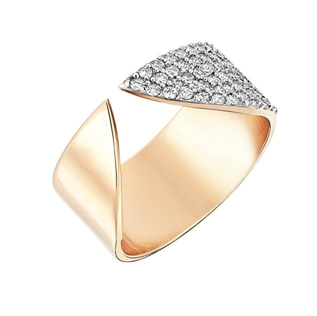 Arrow Point Ring In Half White Diamonds