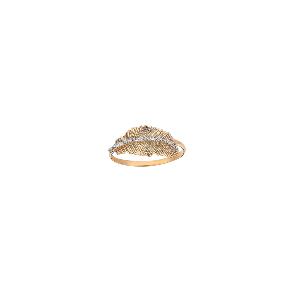 Thick Feather Diamond Line Ring - White Diamond