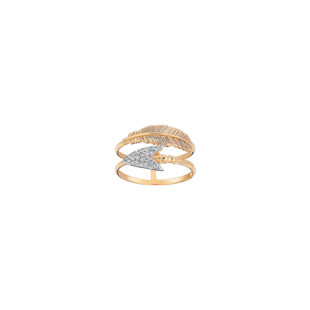 2 Row Feather and Arrow Ring - White Diamond