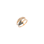 2 Row Feather and Arrow Ring - Champagne Diamond