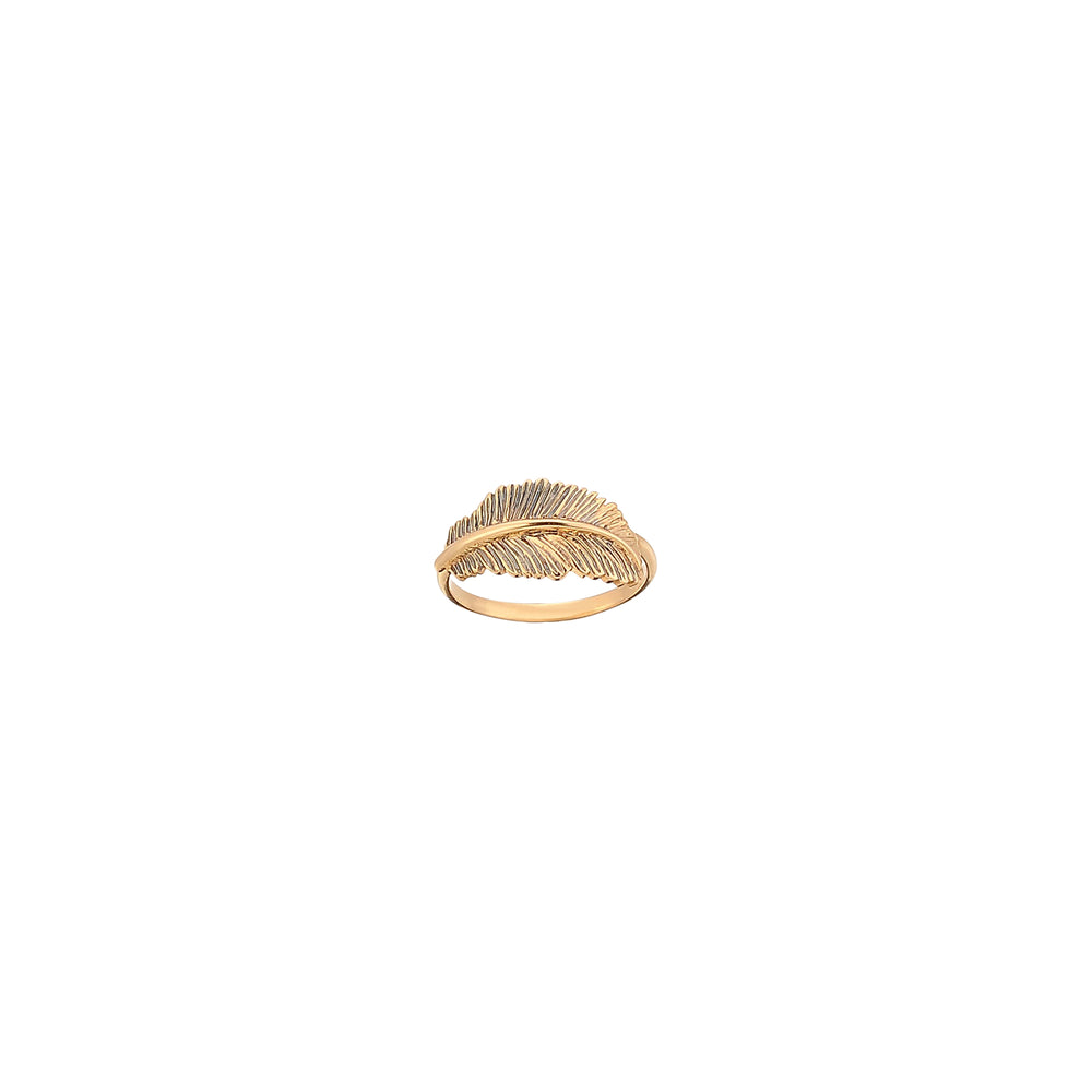Thick Feather Pinky Ring - Gold