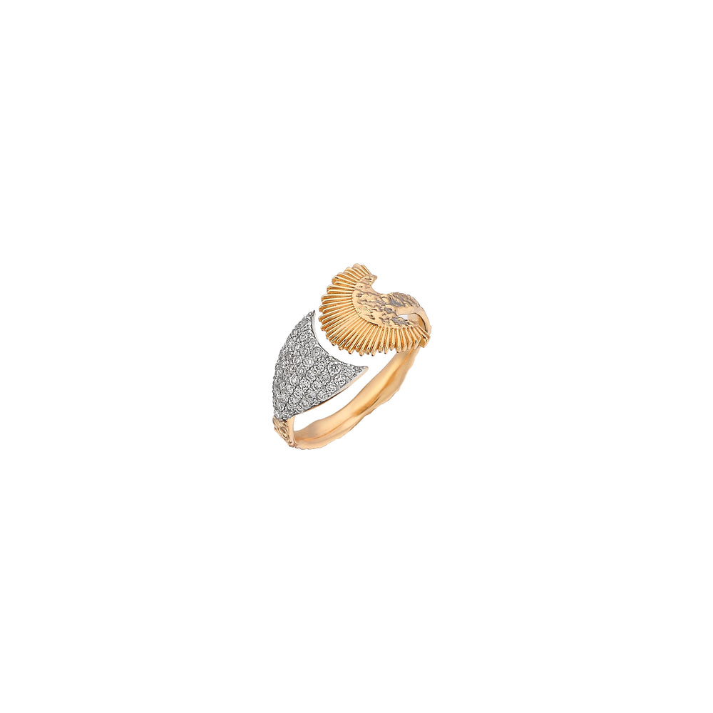 Oval Arrow And Feather Ring - White Diamond