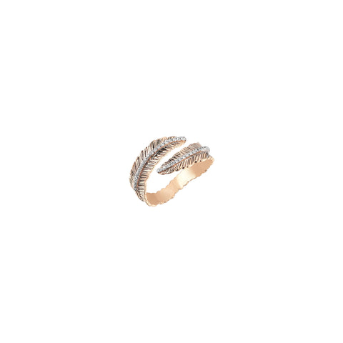 2 Row Feather Ring - White Diamond