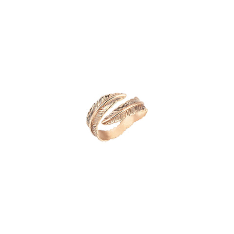 2 Row Feather Ring - Gold