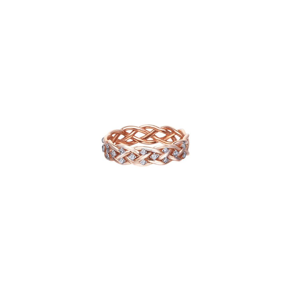 Thick Wire Knit Ring - White Diamond