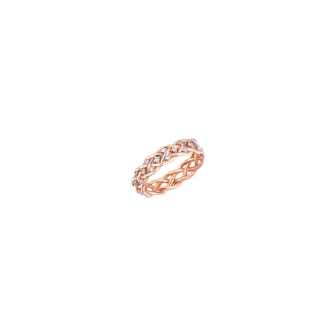Thick Wire Knit Diamond Pinky Ring