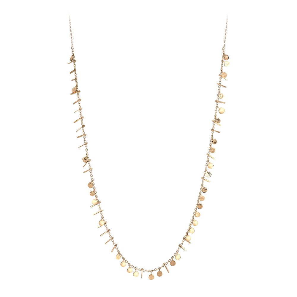 Seed Circles and Tassels Necklace - Gold