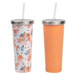 2 pk Chilly Tumbler - Peach Floral and Peach - Manna Hydration